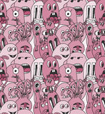 Doodle monsters seamless pattern. Stock Photos