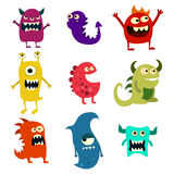Doodle monsters set. Colorful toy cute alien monster. Vector Stock Photos