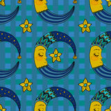 Doodle Moon, seamless pattern for children design Stock Images
