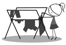 Doodle mother hangs clothes to dry Royalty Free Stock Photography