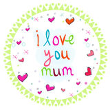 Doodle mothers day circle greeting card with heart Stock Photos