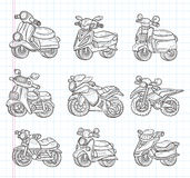 Doodle motorcycle icons Royalty Free Stock Photo