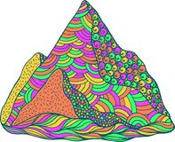 Doodle mountain. Psychedelic colored cartoon art. Vector illustr. Ation stock illustration