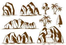 Doodle mountains and trees. Illustration Stock Photography