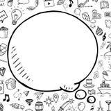 Doodle mowy bąbel z przedmiotami, wektorowa ręka rysujący przedmiot, kreskówki tło Zdjęcie Royalty Free
