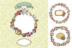 Doodle mushrooms,berries,fruits design template Royalty Free Stock Photo