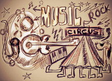Doodle music grunge background Stock Images