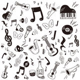 Doodle music icon set Stock Images