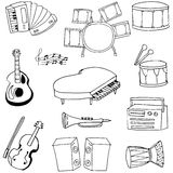 Doodle music icon set stock Royalty Free Stock Photography