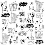 Doodle of music icon set stock Stock Photography