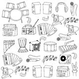 Doodle of music icons set Royalty Free Stock Photo