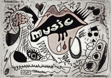 Doodle music old paper background Stock Photography