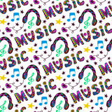 Doodle music seamless pattern with headphones and Stock Photography