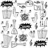 Doodle music set hand draw Stock Images