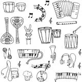 Doodle of music theme stock collection Royalty Free Stock Image
