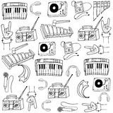 Doodle of music tools Stock Photography