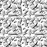 Doodle music word seamless pattern Stock Photography