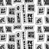 Doodle Music words seamless pattern Stock Image