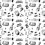Doodle musical instrument pattern Stock Image