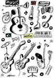 Doodle musical instruments Royalty Free Stock Image