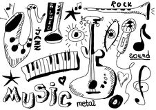 Doodle musical instruments Royalty Free Stock Photography