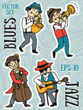 Doodle musicians in 1920's style, jazz or blues music band Stock Photo