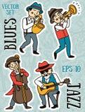 Doodle muzycy w 1920's projektują, jazz lub błękita muzyczny zespół Zdjęcie Stock