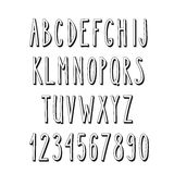 Doodle narrow alphabet,  simple letters Royalty Free Stock Images