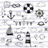 Doodle nautical elements on striped abstract background. Doodle hand sketched nautical elements on striped abstract background Royalty Free Illustration