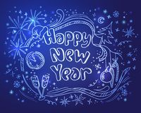 Doodle new year illustration on a blue background Royalty Free Stock Photo