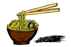Doodle Noodle At Bowl And Stick Stock Photos
