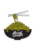 Doodle Noodle at bowl and chopstick Royalty Free Stock Photos