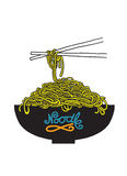 Doodle Noodle at bowl and chopstick Royalty Free Stock Image
