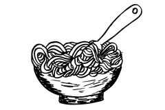 Doodle Noodle at bowl and Fork Royalty Free Stock Photo
