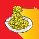 Doodle Noodle. At bowl and stick Royalty Free Stock Photo