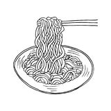 Doodle Noodle. At bowl and stick Stock Image