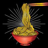 Doodle Noodle. At bowl and stick Stock Photography