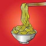 Doodle Noodle. At bowl and stick Stock Photos