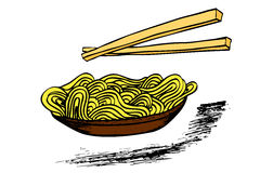 Doodle Noodle at bowl and stick Stock Photography