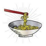 Doodle Noodle. At bowl and stick Royalty Free Stock Images