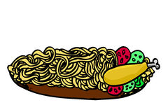 Doodle Noodle at plate and chicken Stock Image