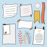 Doodle notepaper wektoru set Ręki rysować wiadomości kleiste notatki Fotografia Stock