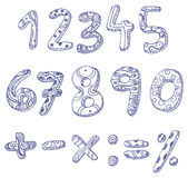 Doodle numbers and math signs. Hand drawn doddle numbers and math signs set stock illustration