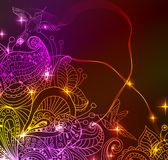 Doodle o fundo floral da cor brilhante com pássaros Foto de Stock Royalty Free