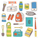 Doodle objects for survival in catastrophe. Camping including lantern, backpack, radio, matches, emergency box, water bottle stock illustration