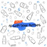 Doodle Of Sixteen Soft Drink Bottles, Water Drop, Bubble And Ice Cube Stock Image