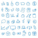 Doodle office, business icons set, Stock Image