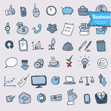 Doodle office, business icons set, vector Royalty Free Stock Photo