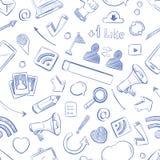 Doodle ogólnospołecznych środki, film, muzyka, wiadomość, wideo, online marketing, sms wektorowy bezszwowy tło ilustracji