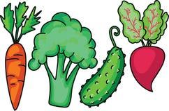 Doodle Ogrodowy jarzynowego ustawiającego z marchwianym brokułu ogórka burakiem Robić w kreskówki mieszkania stylu wektor royalty ilustracja